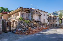 Destroyed houses and rubble of the earthquake that struck the town of Amatrice in the Lazio region of Italy. The strong earthquake. Rubble of the earthquake that Royalty Free Stock Photos