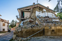 Destroyed houses and rubble of the earthquake that struck the town of Amatrice in the Lazio region of Italy. The strong earthquake. Rubble of the earthquake that Stock Photo