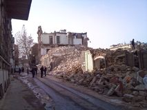 The destroyed houses, the street in ruins Royalty Free Stock Photography