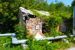 Destroyed houses in which people lived in a dead radioactive Royalty Free Stock Images