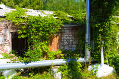 Destroyed houses in which people lived in a dead radioactive Royalty Free Stock Photos
