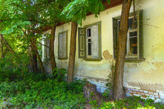 Destroyed houses in which people lived in a dead radioactive Royalty Free Stock Photography