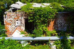 Destroyed houses in which people lived in a dead radioactive Royalty Free Stock Photo