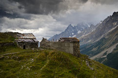 Destroyed huts in the mountains Stock Images
