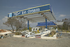 Destroyed ice cream stand in Pensacola Florida hit hard by Hurricane Ivan stock photos