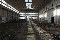 Destroyed industrial hall Royalty Free Stock Photography