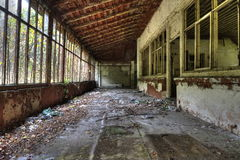 Destroyed inside the building. Destroyed house in East Europe Royalty Free Stock Image