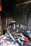Destroyed interior of a house after a fire Royalty Free Stock Image