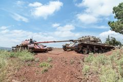 Destroyed Israeli and Syrian tanks after the Doomsday Yom Kippur War on the Golan Heights in Israel, near the border with Syria stock images