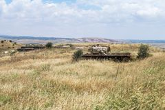 Destroyed Israeli tank near the bunker is after the Doomsday Yom Kippur War on the Golan Heights in Israel, near the border with. Syria Stock Photos