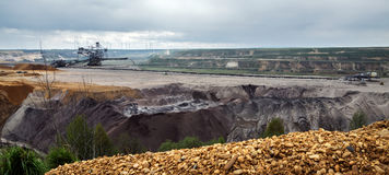 Destroyed landscape in Garzweiler opencast mining lignite, surface mine in North Rhine-Westphalia, Germany, controversial energy. Production against stock images