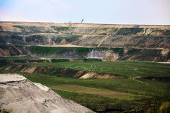 Destroyed landscape in Garzweiler opencast mining lignite. Surface mine in North Rhine-Westphalia, Germany, controversial energy production against royalty free stock photos