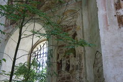 Destroyed and looted the Church of the Intercession of the blessed virgin Mary. Destroyed Orthodox Church in village Il`goschi Tver region Stock Photography