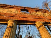 Destroyed manor of Imperial Russia. Beautiful ruined building in the heart of Russia.