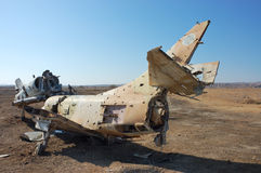 Destroyed military aircraft. Airframe of destroyed military plane found in desert, Israel Royalty Free Stock Images