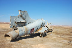 Destroyed military aircraft. Airframe of destroyed military plane found in desert, Israel Stock Photos