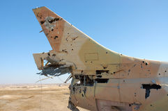Destroyed military aircraft. Stock Photos