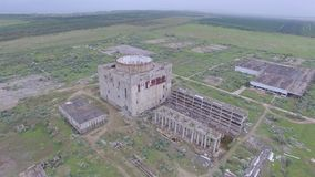 Destroyed Nuclear power plant in Shelkino aerial video