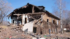Destroyed old house in the province of Russia, poverty.  stock video