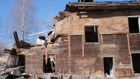 Destroyed old house in the province of Russia, poverty.  stock footage
