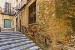 Destroyed old stairs. The destroyed old stairs in Girona , Spain royalty free stock photo