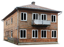 The destroyed old wooden house of mass building of the beginning Stock Photography