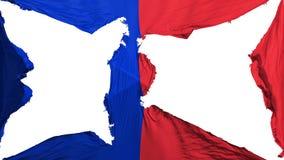 Destroyed Paris city flag. Destroyed Paris city, capital of France flag, white background, 3d rendering stock illustration