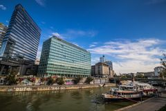 """Party ship in Vienna, Austria. Destroyed Party Ship """"MS Johann Strauss"""" on the Danube Canal in Vienna Royalty Free Stock Image"""