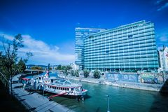 """Party ship in Vienna, Austria. Destroyed Party Ship """"MS Johann Strauss"""" on the Danube Canal in Vienna Royalty Free Stock Images"""