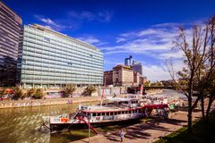 """Party ship in Vienna, Austria. Destroyed Party Ship """"MS Johann Strauss"""" on the Danube Canal in Vienna Royalty Free Stock Photo"""