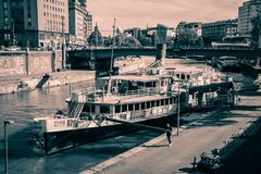 """Party ship in Vienna, Austria. Destroyed Party Ship """"MS Johann Strauss"""" on the Danube Canal in Vienna Stock Images"""