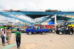 Destroyed Passenger Terminal. A jeepney and bus passenger terminal in Ormoc City, Leyte in the Philippines destroyed by the recent super typhoon Haiyan (Yolanda Stock Image