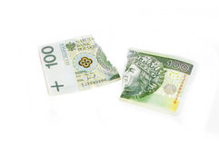 Destroyed Polish money Stock Images