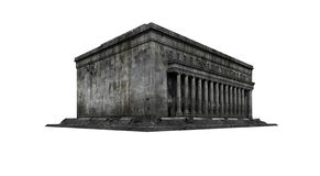 Destroyed post office building ruins. Post office building ruins. Isolated on white background. 3D Rendering, Illustration royalty free illustration