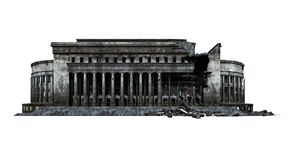Destroyed post office building ruins. Post office building ruins. Isolated on white background. 3D Rendering, Illustration stock illustration