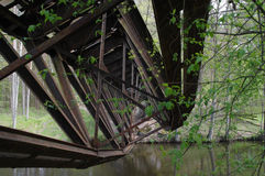 The destroyed railway bridge over the river Royalty Free Stock Image