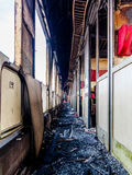 Destroyed railway carriage Stock Photo