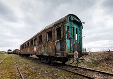 Destroyed railway wagon Royalty Free Stock Images