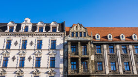 Destroyed and renovated facades Royalty Free Stock Photos
