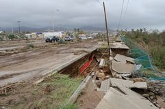 Destroyed road by hurricane Odile Stock Image