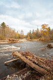 Destroyed road wooden bridge in the distant taiga area stock images