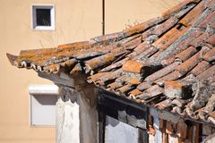 Destroyed rooftop in closeup Stock Photos