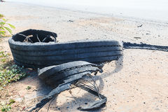 Destroyed rubber tire Royalty Free Stock Image