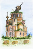 Destroyed Russian church. Destroyed broken Russian church landscape. Time does not spare even the holy concept. Watercolor handmade art painting Vector Illustration
