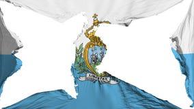 Destroyed San Marino flag. White background, 3d rendering vector illustration