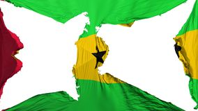 Destroyed Sao Tome and Principe flag. White background, 3d rendering vector illustration
