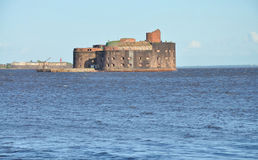 Destroyed sea fort Stock Photos