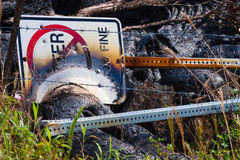 Destroyed sign Stock Photography