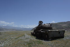 Destroyed soviet tank in Afghanistan Stock Images