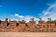 Destroyed statue of Buddha in Ayutthaya. Wat Chaiwatthanaram temple in Ayutthya Royalty Free Stock Photography